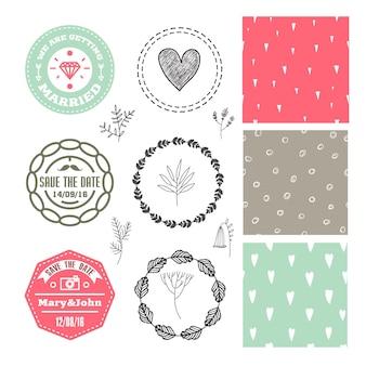 Wektor zestaw romantyczny. odznaki ślubne, logo, bezszwowe ręcznie rysowane wzory, wieńce kwiatowe