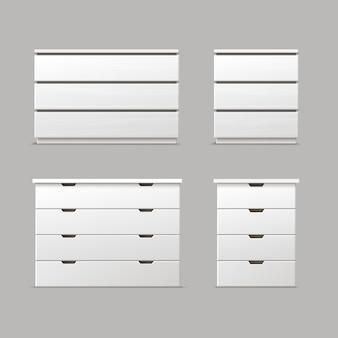 Wektor zestaw różnych białych szuflad, szafki nocne lub stoliki nocne widok z przodu na białym tle na tle
