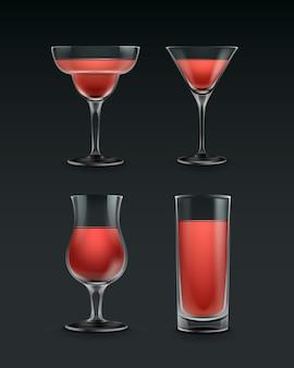 Wektor zestaw różnych kieliszków koktajlowych z czerwonym płynem na białym tle na czarnym tle