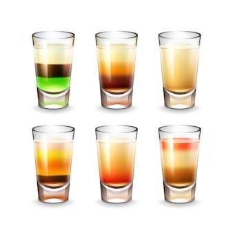 Wektor zestaw różnych kolorowych pasiastych strzałów alkoholowych na białym tle