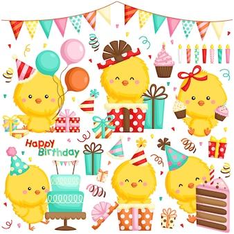 Wektor zestaw różnych kurcząt obchodzi urodziny z ciasta i wiele prezentów