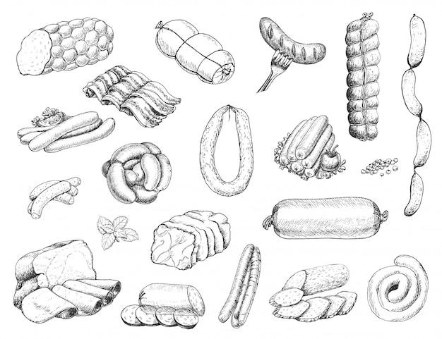 Wektor zestaw różnych produktów mięsnych