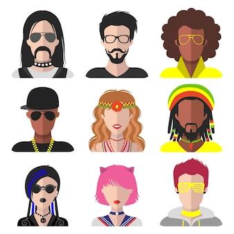 Wektor zestaw różnych subkultur mężczyzn i kobiet aplikacji icons.goth, raper, hipis, raver fan web images