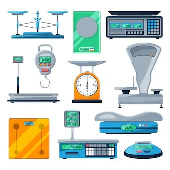 Wektor zestaw różnych typów wag
