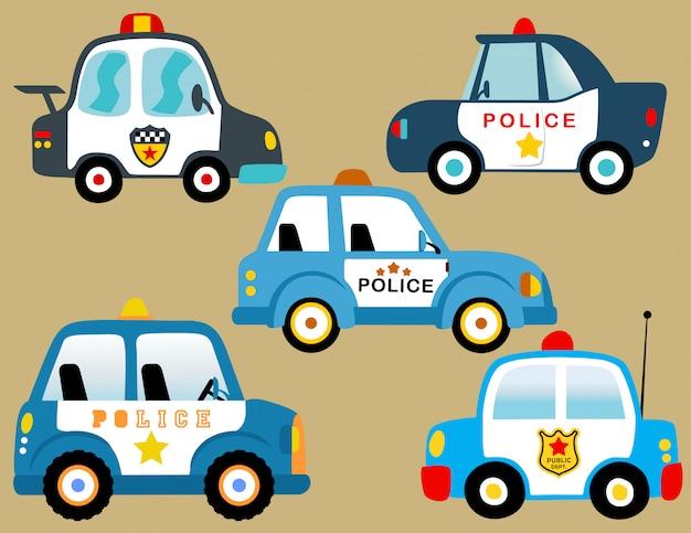 Wektor zestaw samochodów policyjnych
