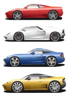 Wektor zestaw samochodów sportowych.