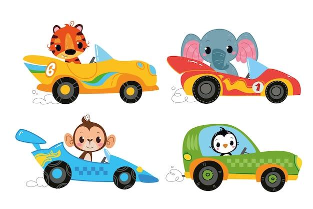 Wektor zestaw samochodów wyścigowych z kierowcami zwierząt słoń tygrys małpa pingwin zabawna postać z kreskówek
