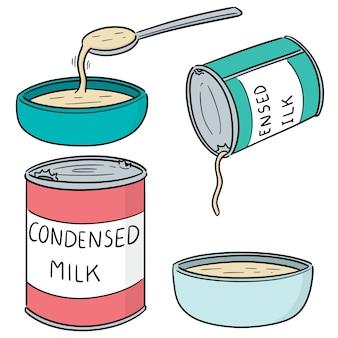Wektor zestaw skondensowanego mleka