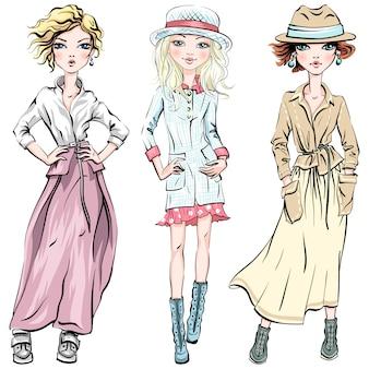 Wektor zestaw ślicznych modnych dziewcząt