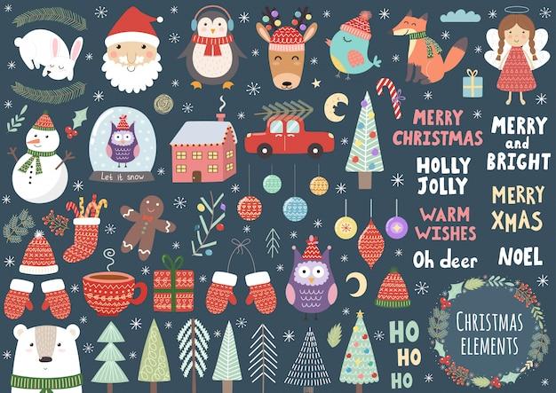 Wektor zestaw słodkie elementy świąteczne: santa, pingwin, jeleń, niedźwiedź, lis, sowa, drzewa, bałwan, ptak, anioł i więcej