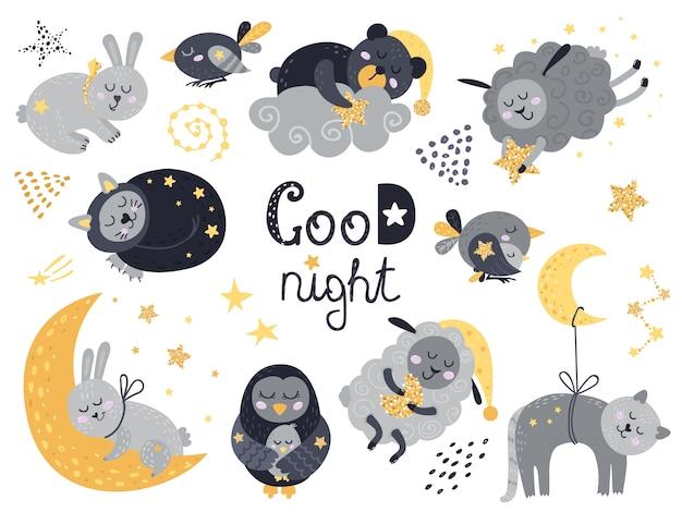 Wektor zestaw słodkie śpiące zwierzęta