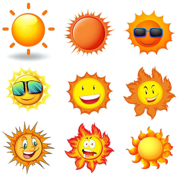 Wektor zestaw słońca