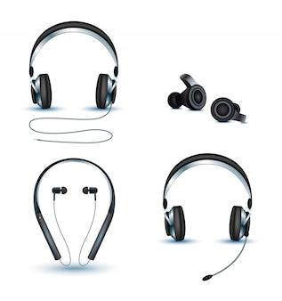 Wektor zestaw słuchawek bezprzewodowych i przewodowych, słuchawki.