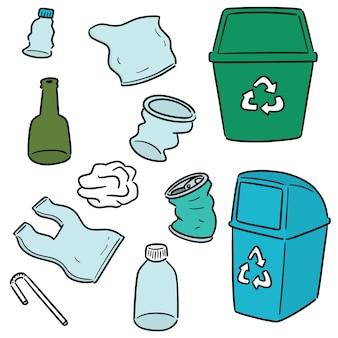 Wektor zestaw śmieci i recyklingu przedmiotu recyklingu