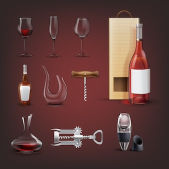 Wektor zestaw sprzętu do wina z korkociągiem skrzydełkowym, aerator, karafki, butelka z opakowaniem, kieliszki do wina i szampana. na białym tle