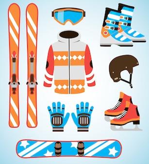 Wektor zestaw sprzętu narciarskiego i snowboardowego. zestaw elementów na białym tle sprzęt sportów zimowych w stylu płaska konstrukcja.