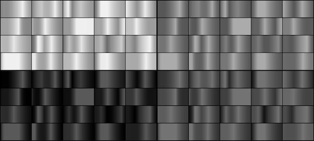 Wektor zestaw srebrnych metalowych gradientów.