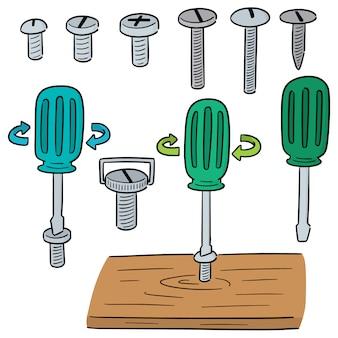 Wektor zestaw śrub i śrubokrętów