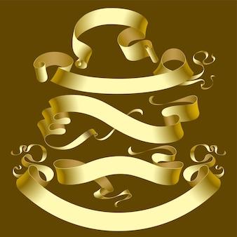 Wektor zestaw starych banerów złota