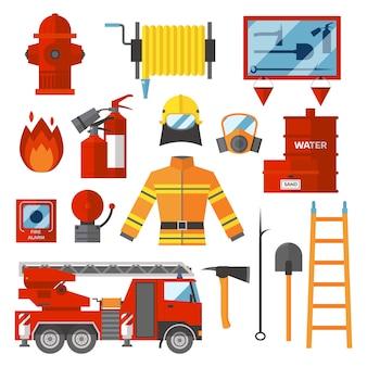 Wektor zestaw strażak bezpieczeństwo pożarowe płaskie ikony i symbole.