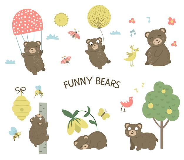 Wektor zestaw stylu cartoon ręcznie rysowane płaskie niedźwiedzie w różnych pozach. zbiór zabawnych scen z misiem. śliczna ilustracja zwierząt leśnych.