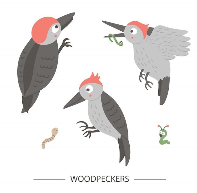 Wektor zestaw stylu cartoon ręcznie rysowane płaskie śmieszne dzięcioły w różnych pozach. śliczna ilustracja ptaków leśnych