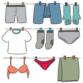 Wektor zestaw suszenia ubrań