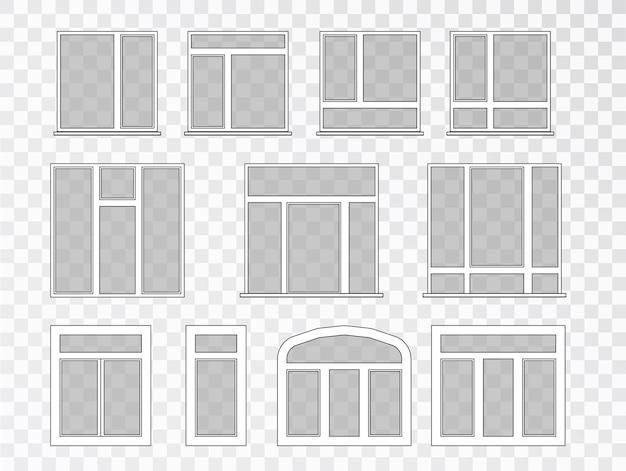 Wektor zestaw systemu windows. zestaw szklanych okien do domu, elewacji, wystroju. wnętrze. okna plastikowe z kolekcji różnych typów.