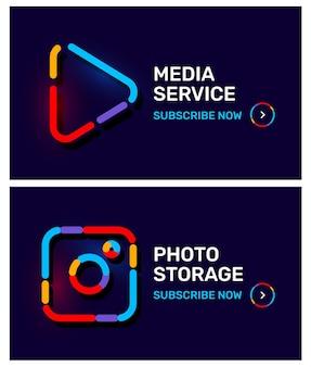 Wektor zestaw szablon transparent z ikona graficzny jasny kolor na czarnym tle. projekt stylu grafiki liniowej dla aplikacji mobilnej, aplikacji, strony internetowej, witryny, interfejsu, reklamy