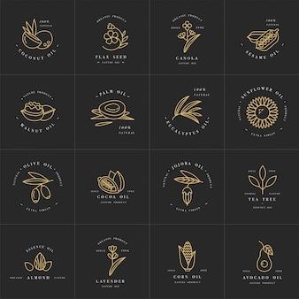 Wektor zestaw szablonów i herby - olejki zdrowe i kosmetyki. różne naturalne oleje organiczne.