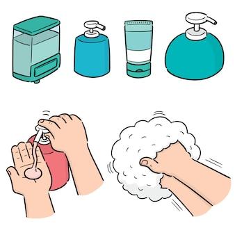 Wektor zestaw szampon i butelka mydła w płynie