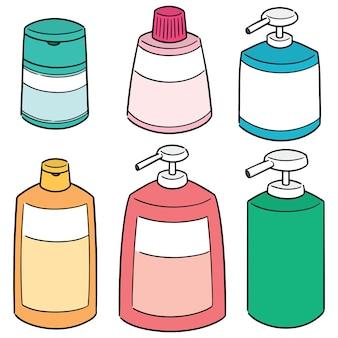 Wektor zestaw szampon i butelki mydła w płynie