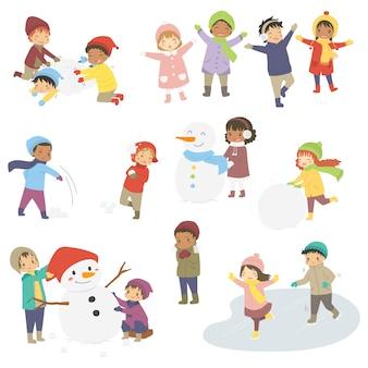 Wektor zestaw szczęśliwych dzieci na zimowe wakacje.