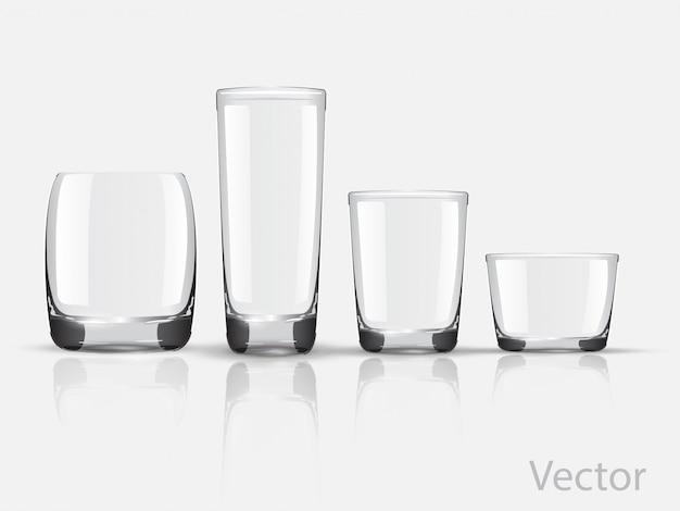 Wektor zestaw szklanych szklanek