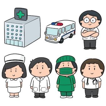 Wektor zestaw szpitala i personelu medycznego