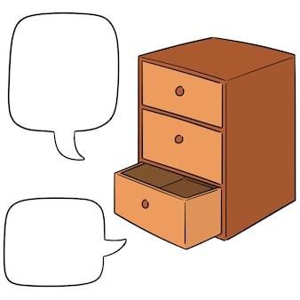 Wektor zestaw szuflady