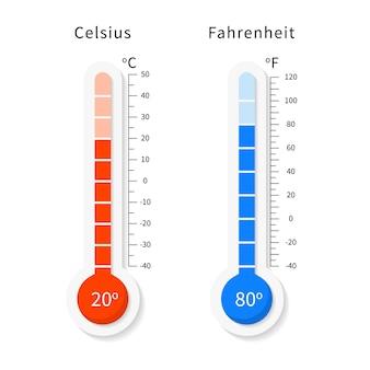 Wektor zestaw termometrów meteorologicznych celsjusza i fahrenheita.