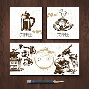 Wektor zestaw tożsamości banerów kawy. szablony projektowania menu z ręcznie rysowanymi ilustracjami szkicu