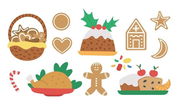 Wektor zestaw tradycyjnych świątecznych deserów i potraw na białym tle. ładny zabawny ilustracja posiłek noworoczny. zimowa kolekcja żywności