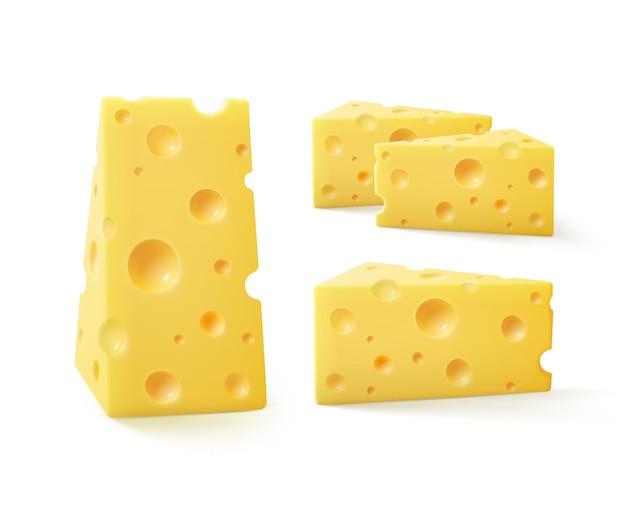 Wektor zestaw trójkątnych kawałków sera szwajcarskiego na białym tle