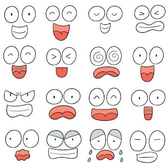 Wektor zestaw twarz kreskówki