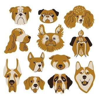 Wektor zestaw twarzy psów kolorowe ilustracje portretów psów