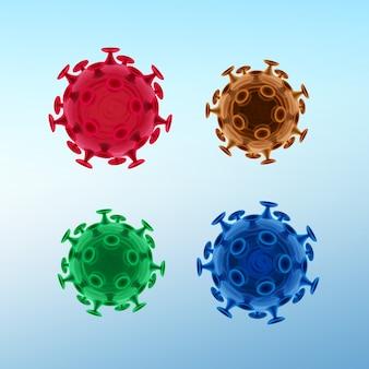 Wektor zestaw typowych ludzkich wirusów lub bakterii z bliska na białym tle na tle