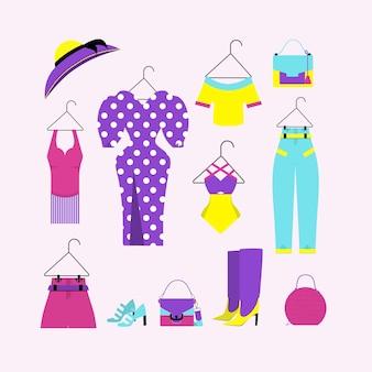 Wektor zestaw ubrań i akcesoriów. swetry i sukienka, sukienki damskie na wieszakach.