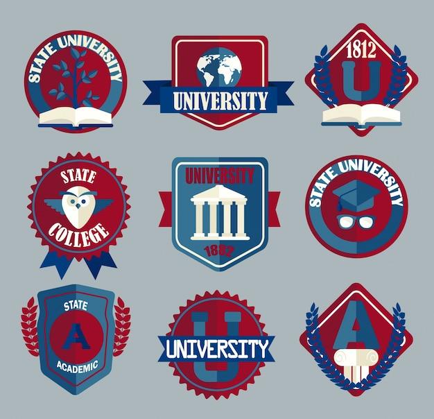 Wektor zestaw uniwersyteckich i kolegiów odznaki szkolne.