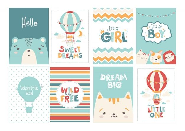 Wektor zestaw uroczych kart okolicznościowych dla dziecka w prostym stylu skandynawskim i pastelowej palecie.