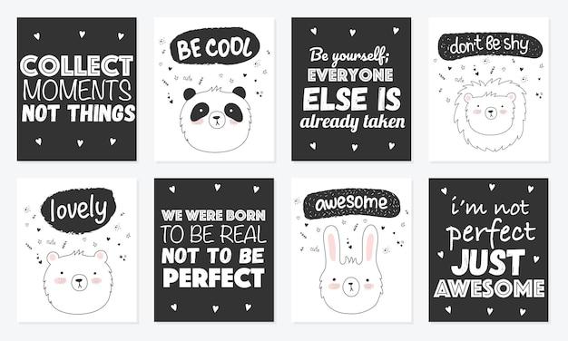 Wektor zestaw uroczych pocztówek z zabawnymi zwierzętami plakat z uroczymi przedmiotami na tle