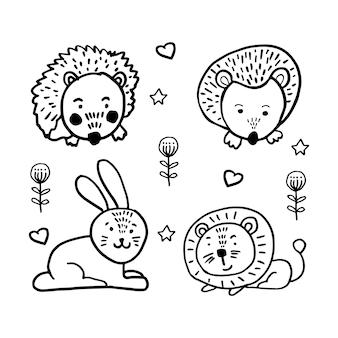 Wektor zestaw uroczych zwierzątek w modnym stylu skandynawskim. zabawna, urocza, przytulna, ręcznie rysowane ilustracja na plakat, baner, druk, ozdoba pokoju zabaw dla dzieci lub kartkę z życzeniami.