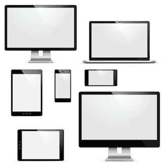 Wektor zestaw urządzeń elektronicznych