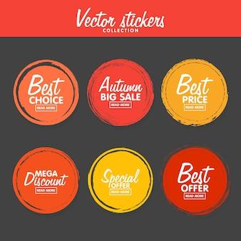 Wektor zestaw vintage kolorowe etykiety jesień na pozdrowienia i promocji. gwarancja jakości premium, bestseller, najlepszy wybór, wyprzedaż, oferta specjalna